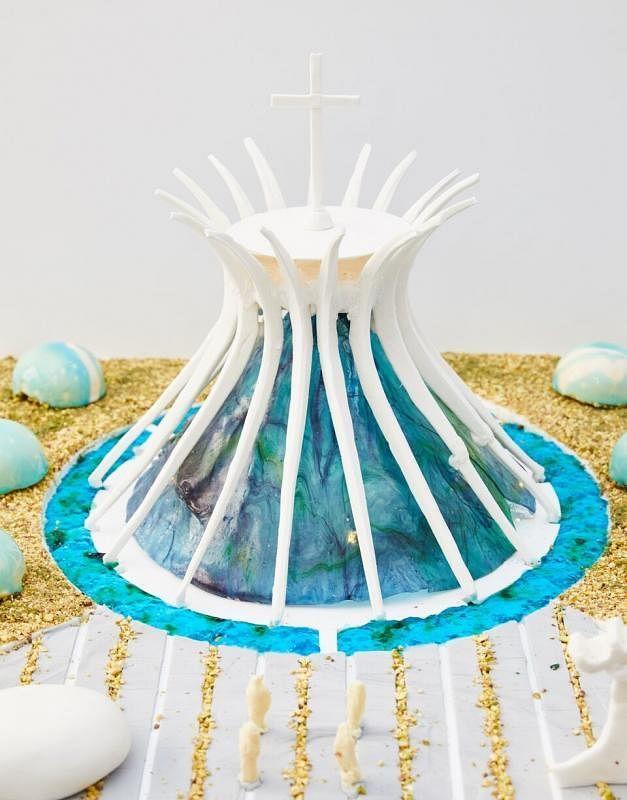 建筑师烘焙的建筑造型蛋糕。