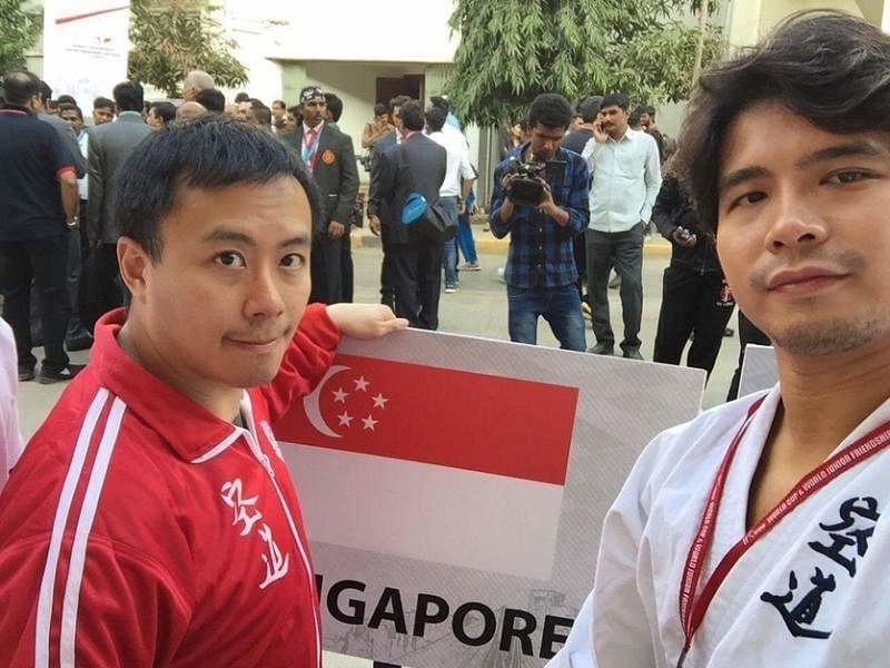 第二届空道世界杯今年2月在印度举行,洪瑀声(右)是首名本地代表。