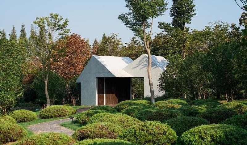 Lekker在中国南京打造的墓园采用房屋造型设计凉亭。(Studio Periphery摄影)
