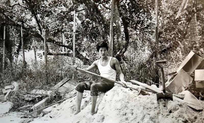 """年轻时在淡滨尼农场里劳作的陈江平,也是个""""小鲜肉""""。(受访者提供)"""