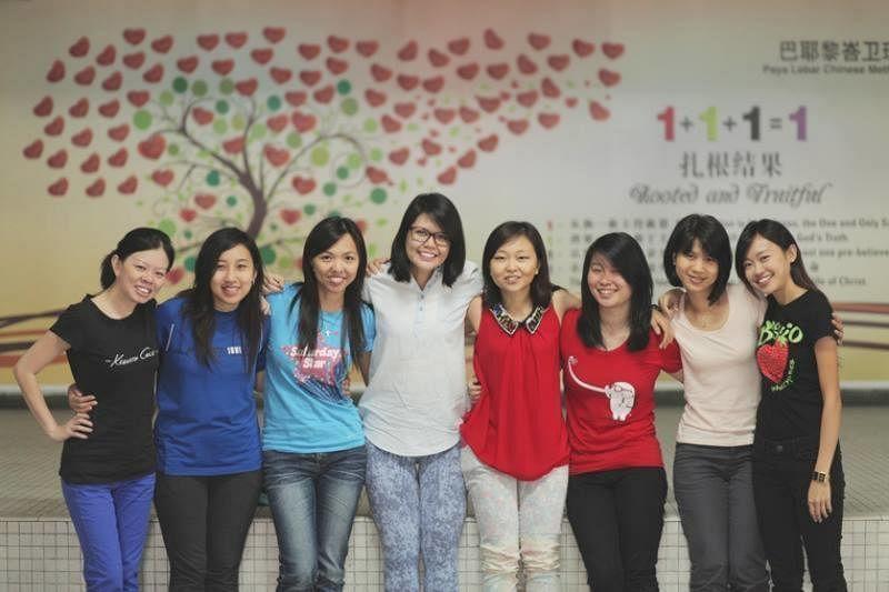 """吴晶莹(右四)和义工朋友们帮助边缘少男少女,通过音乐帮他们""""发声""""。(受访者提供照片)"""
