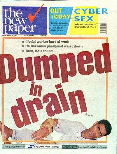 重伤客工巴沙尔遭雇主丢弃的悲剧1997年刊登在《新报》封面。(受访者提供)