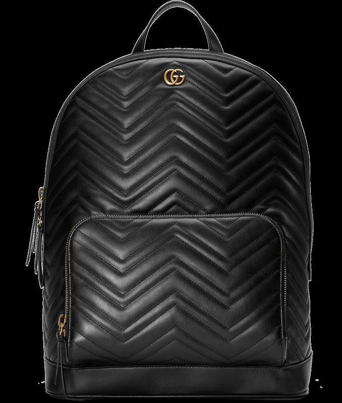 Gucci黑色皮背包。