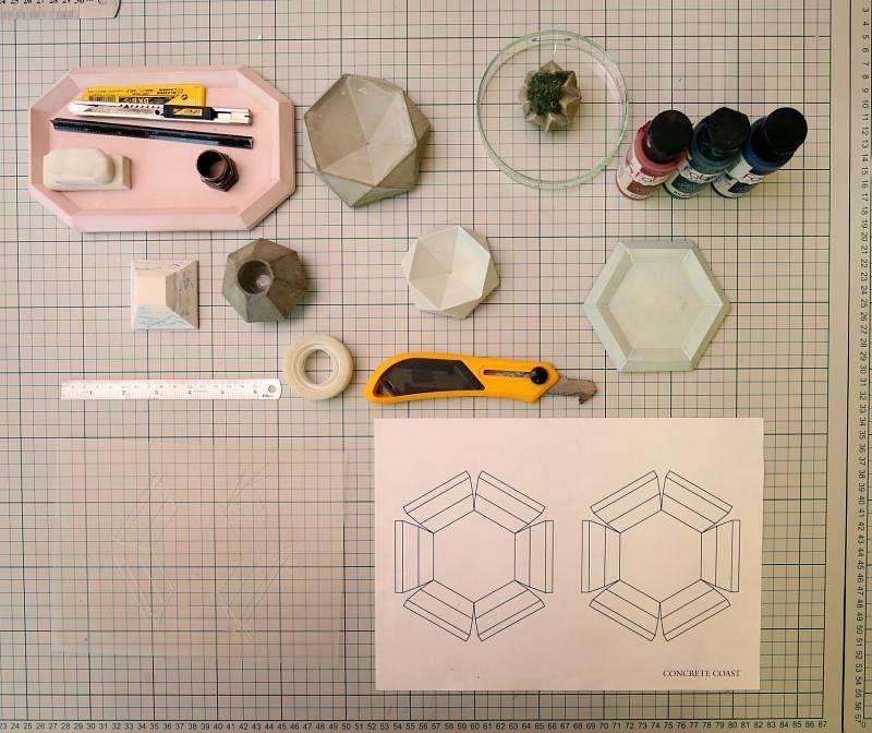 制作水泥小碟所需的材料。