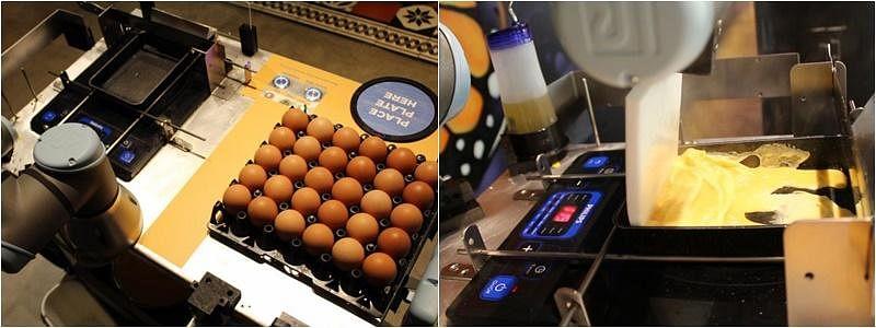 机器人厨师AUSCA制作煎鸡蛋餐。