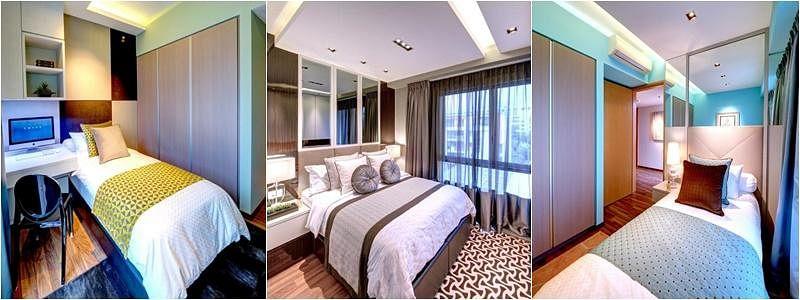 三间卧房面积都不大,只摆得下一张床,因此得设法在墙壁或床头打造壁橱,灯光从天花板小格打下,让卧房更舒适温馨。
