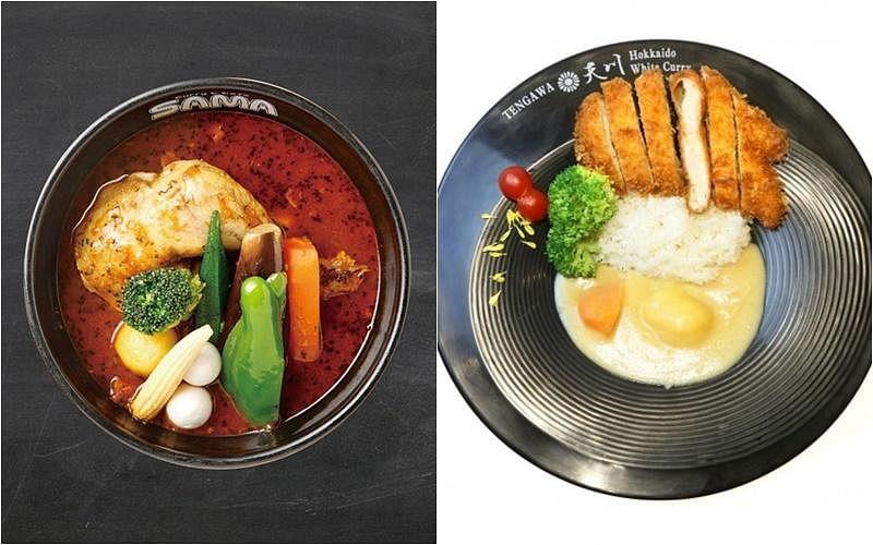 汤咖喱(左图)是北海道必吃菜单中的特色美食;白咖喱可搭配不同肉类、海鲜上桌。这道炸鸡扒白咖喱饭酥而不腻。