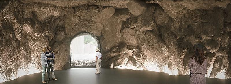 参观者在瑞士Susch当代艺术博物馆会看到自然形成的山岩石窟。