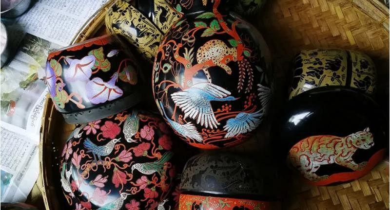 """仰光Hla Day售卖的""""黑象""""漆器品牌,设计更加现代、简洁。(互联网)"""
