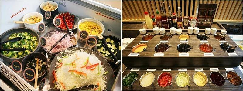 最新的盐麹炸排概念店Shiokoji Tonkatsu Keisuke,选择套餐就可享用免费沙拉(左)和炸排蘸酱(右)。(龙国雄摄)