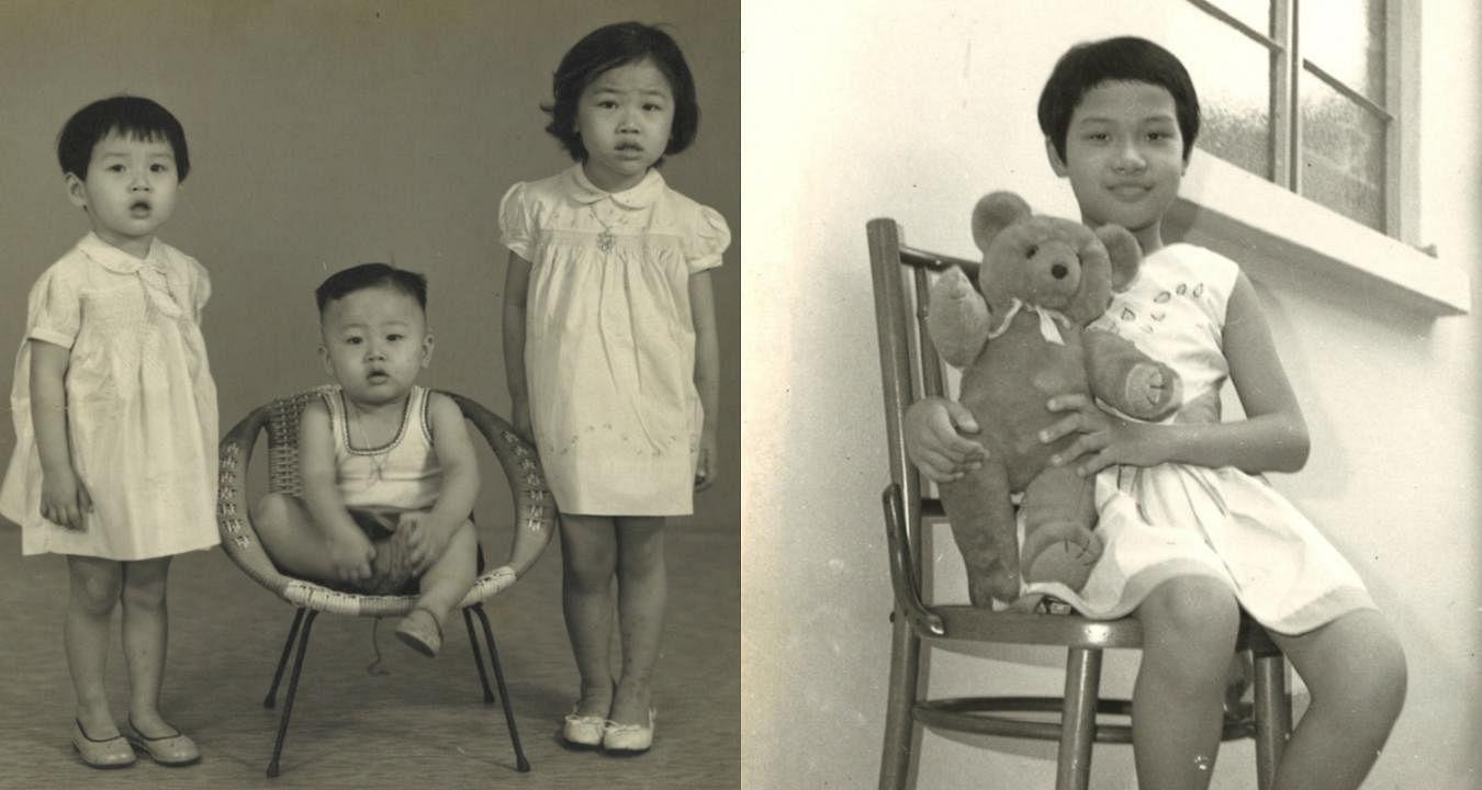 左图:安娜(左)小时候跟弟弟与姐姐的合照。右图:安娜对姐姐的小熊玩偶爱不释手。(图/受访者提供)