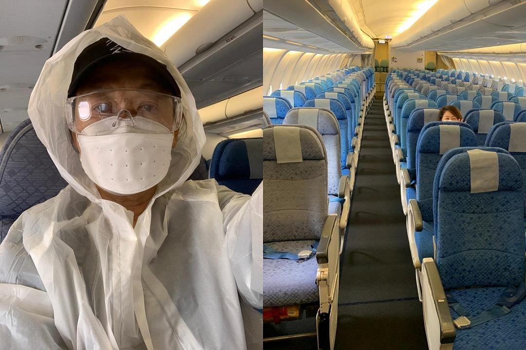 左:朱咪咪飞行与新港之间,防疫措施不敢松懈。右:朱咪咪搭飞机,第一次看见那么空的机舱。(图由朱咪咪提供)
