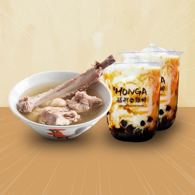 艋胛鸡排把泡泡茶和姐妹品牌发起人肉骨茶组合成外卖套餐。