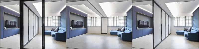 一个客厅就可变出四种不同的空间来。