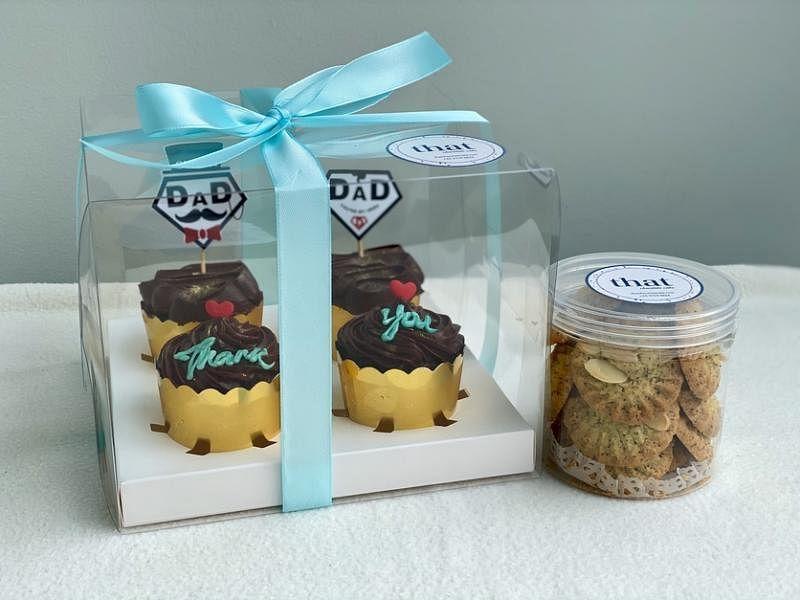 That Chocolate Cake的父亲节献礼是四个杯子蛋糕和一罐伯爵茶曲奇饼。