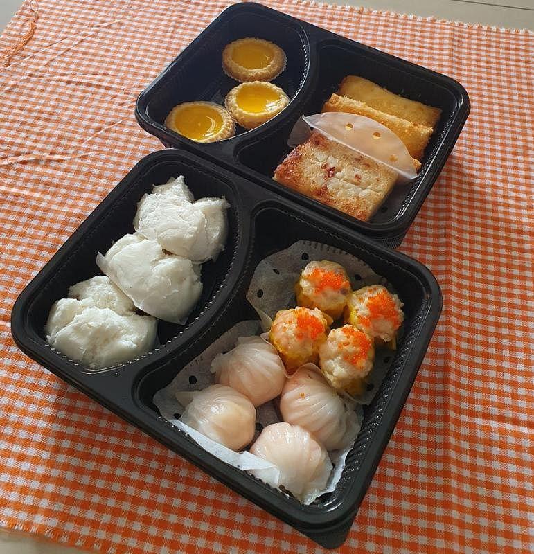 翡翠港式小厨的点心送到时完整美观,看了令人开胃。