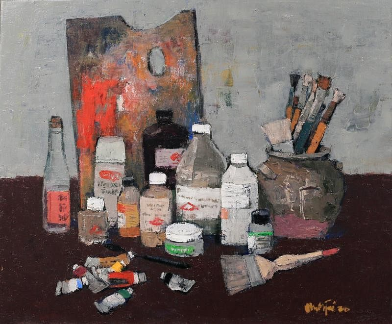 画刀、画笔、调色板等都入画的《职业的工具》。