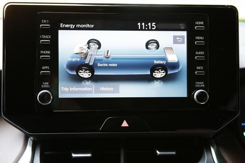 8英寸的中控娱乐资讯触屏,支援Apple CarPlay和Android Auto,也可以查询车子的电量和油量。