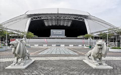 雄赳赳的独立狮,屹立在国家体育场前方重现加冷狮吼。